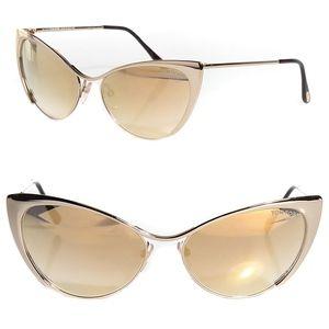 New TOM FORD Gold Cat Eye Sunglasses